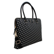 Kate Spade Spot Nylon Calista Laptop Bag- Black-Cream