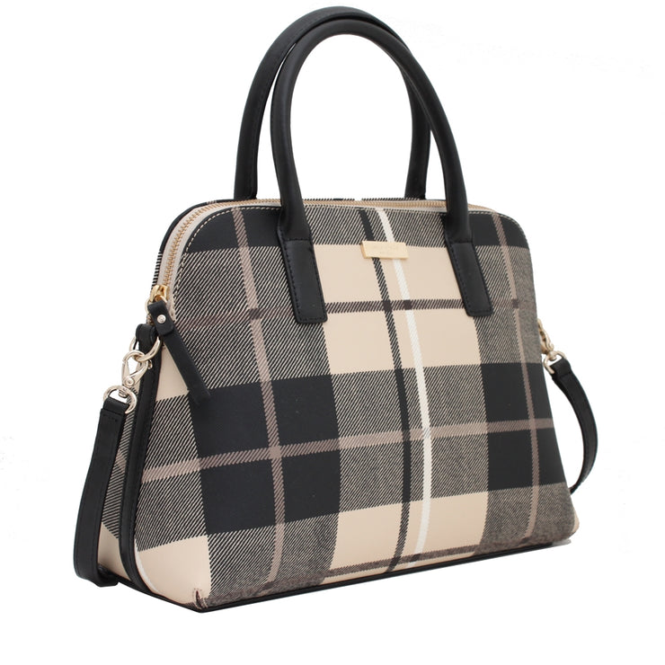 Kate Spade Grant Street Grainy Vinyl Small Rachelle Bag- Woodland Plaid Pumice