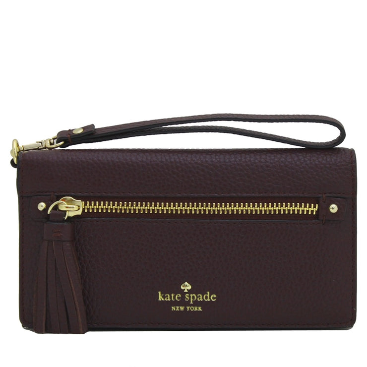 Kate Spade Spencer Court Rae Leather Wallet Wristlet- Mahogany