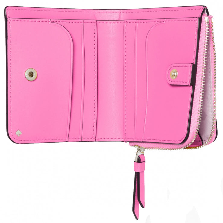 Kate Spade Cameron Monotone Small L-Zip Bifold Wallet wlru6032 in Bright Peony
