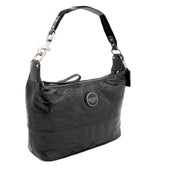 Coach Signature Stripe Stitched Patent Hobo Bag