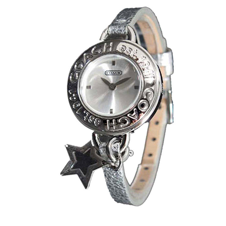 Coach Ladies' Silver Leather Strap Watch w Star Charm