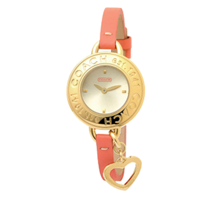 Coach Ladies' Coral Leather Strap Watch w Star Charm