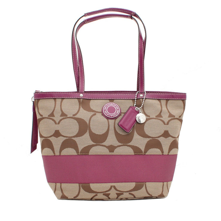 Coach Signature Stripe Tote Bag