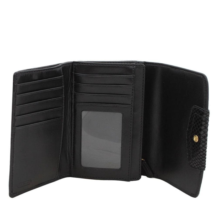 Coach Ashley Leather Compact Clutch Wallet- Black