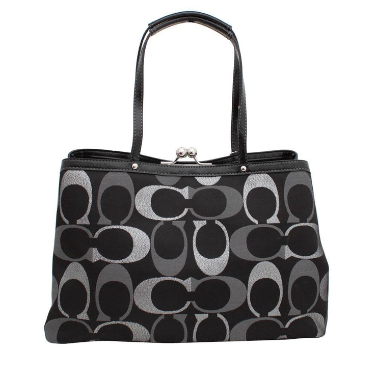 Coach 3-Colour Signature Stripe Framed Carryall Bag- Black Multi