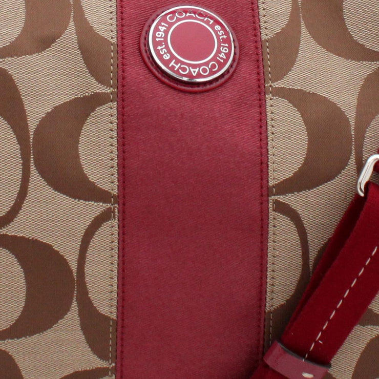 Coach Signature Stripe Convertible Hobo Bag- Khaki Cranberry
