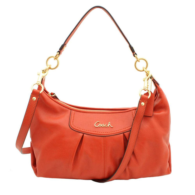 Coach Ashley Leather Convertible Hobo Bag- Vermillion