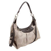 Coach Ashley Dotted Op Art Convertible Hobo Bag- Khaki Mahagony