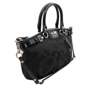 Coach Madison Op Art Sateen Sophia Satchel Bag- Black