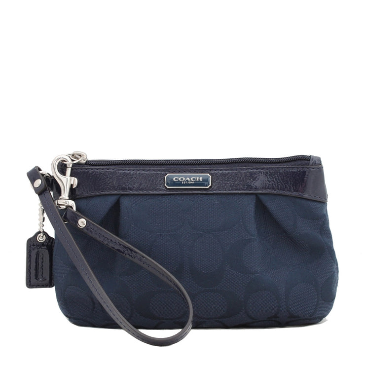 Coach Signature Pleated Medium Wristlet- Navy
