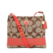 Coach Signature Stripe File Bag- Khaki Persimmon