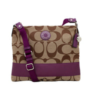 Coach Signature Stripe File Bag- Khaki Purple