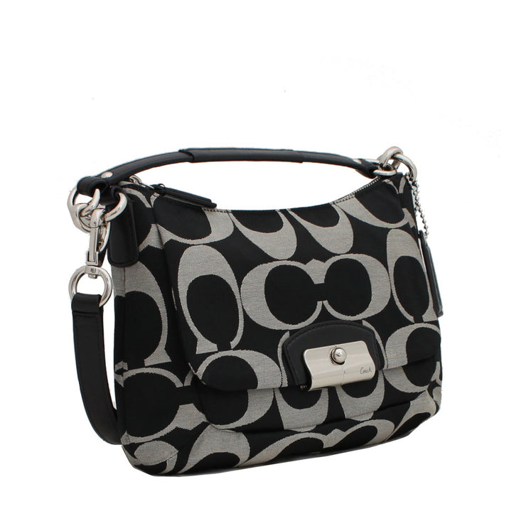 Coach Kristin Op Art Metallic East West Crossbody Bag- Black White Black