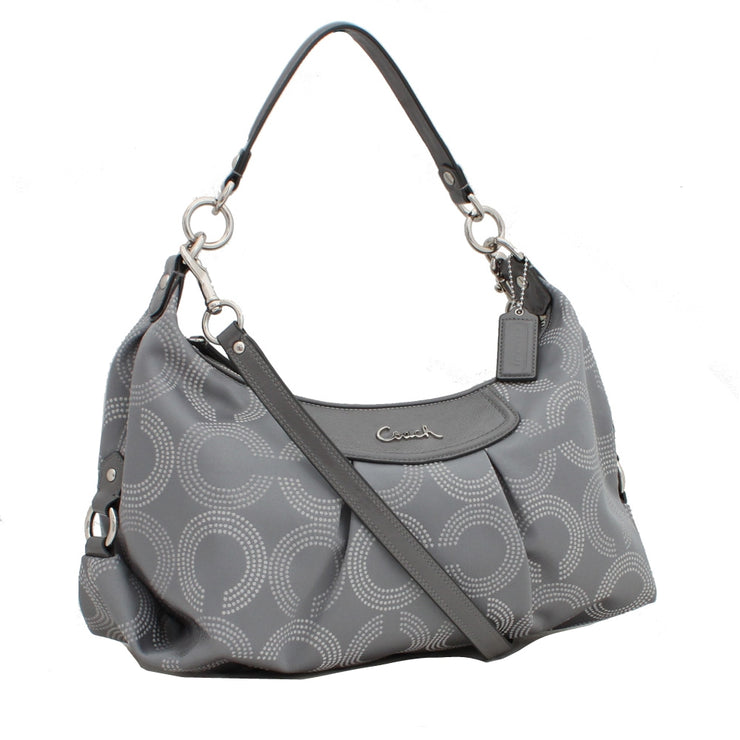 Coach Ashley Dotted Op Art Convertible Hobo Bag- Grey