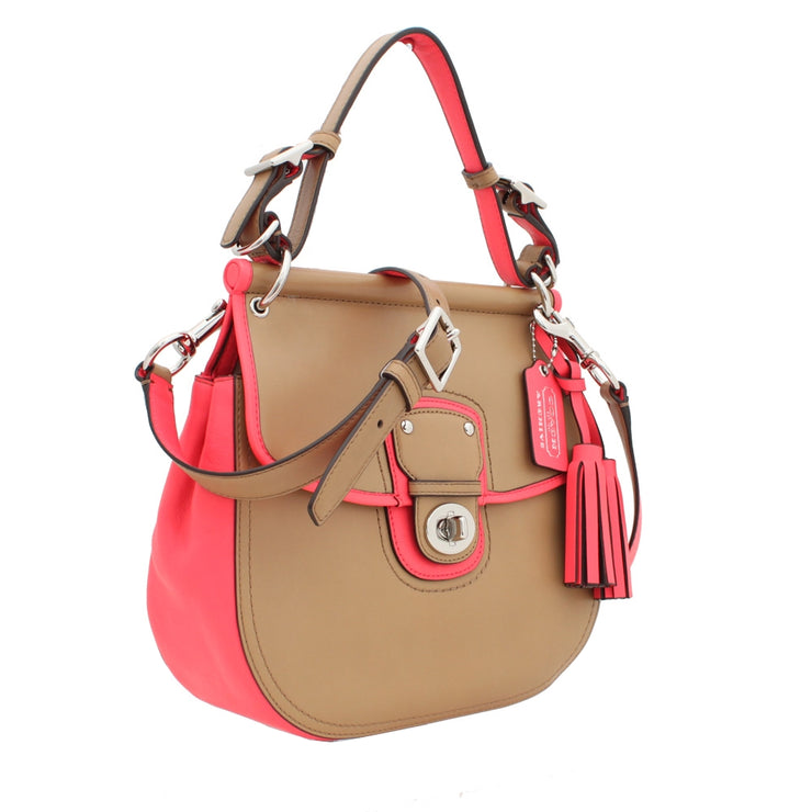 Coach Legacy Archival Two Tone Leather Willis Convertible Bag- Sand