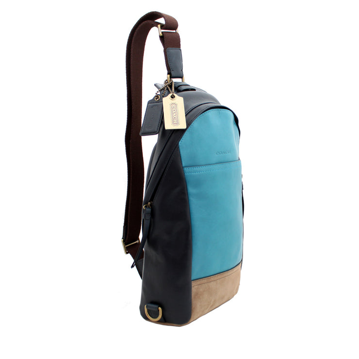 Coach Bleecker Colourblock Leather Men's Sling Pack Bag- Ocean