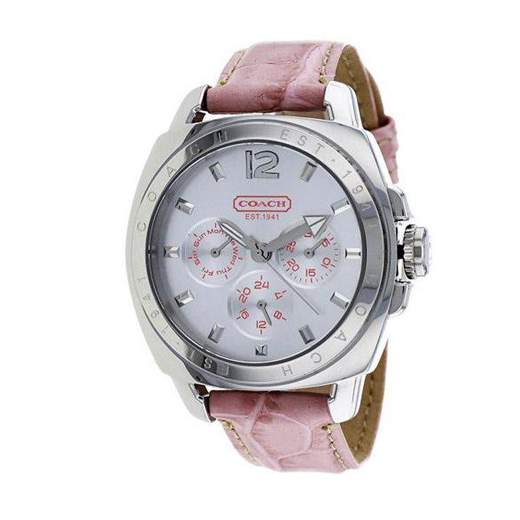 Coach Ladies' Light Pink Leather Chronograph Round Dial Watch