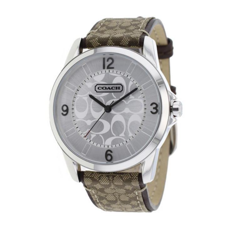 Coach Ladies' Khaki Signature Watch w Round Signature Dial
