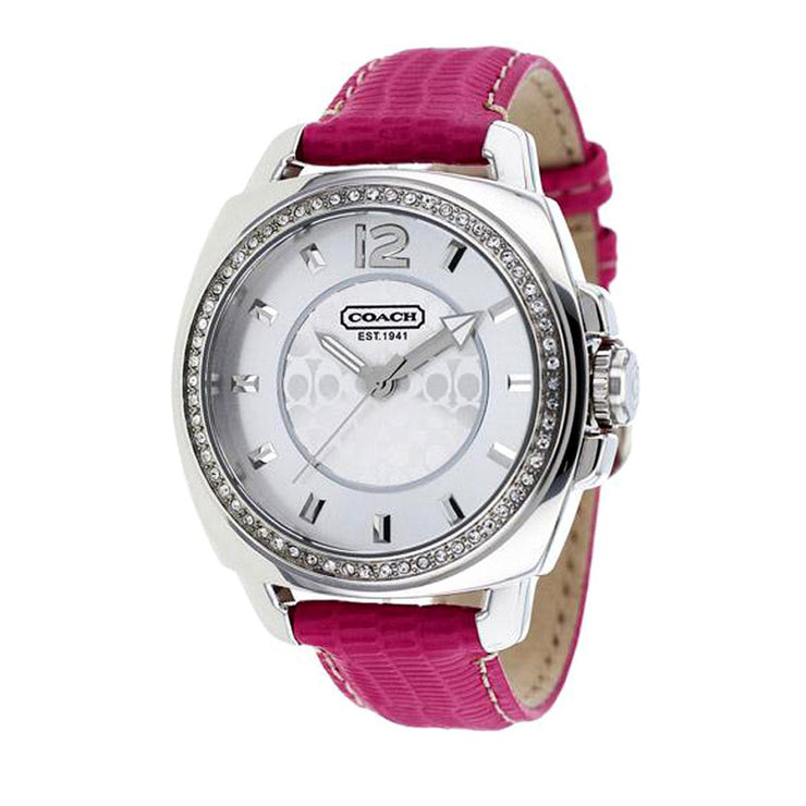 Coach Ladies' Pink Leather Watch w Round Signature Dial & Crystal Bezel