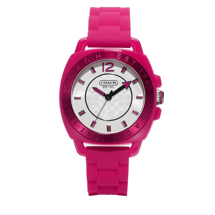 Coach Watch 14501354 Pink Silicon with Round White Dial Ladies Watch