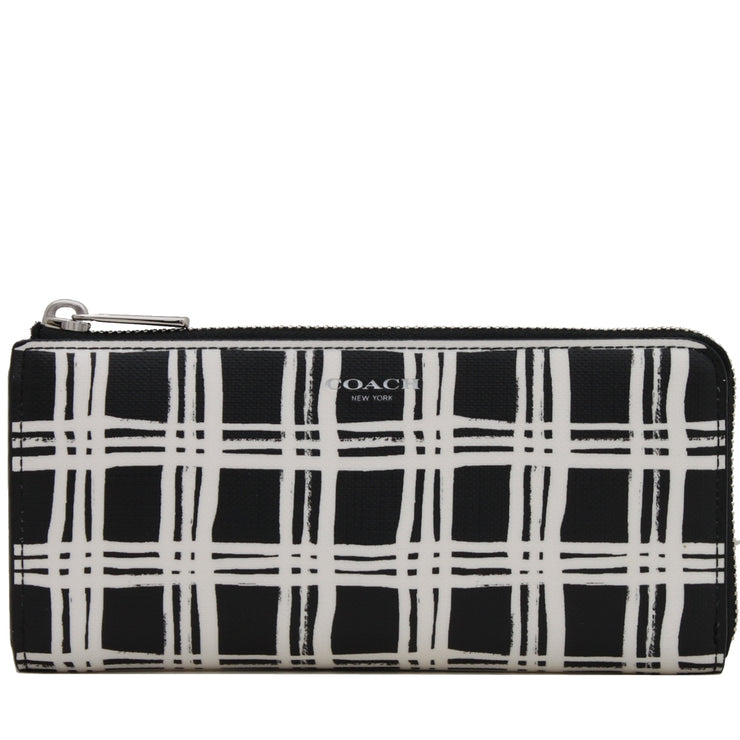 Coach 51142 Bleeker Slim Zip Wallet In Black & White Coated Canvas- Black Multi