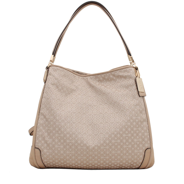 Coach Bag 27843 Madison Small Phoebe Shoulder Bag in Op Art Pearlescent Fabric- Khaki