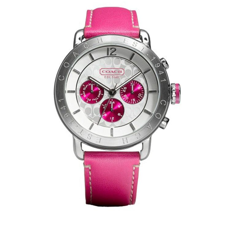 Coach Watch 14501651 Legacy Pink Leather Chronograph Round Dial Ladies Watch