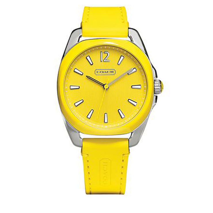 Coach Watch 14501920- Yellow Silicon Round Dial Ladies Watch
