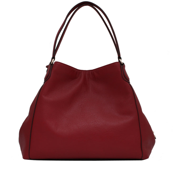 Coach 33547 Edie Shoulder Bag in Pebbled Leather- Red Currant