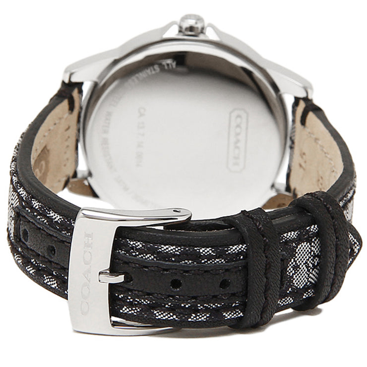 Coach Watch 14501524 Black Classic Signature Leather Round Dial Ladies Watch