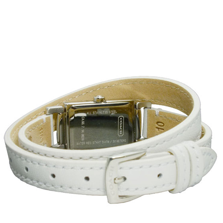 Coach Watch 14501598- White Leather Double Strap Ladies Watch
