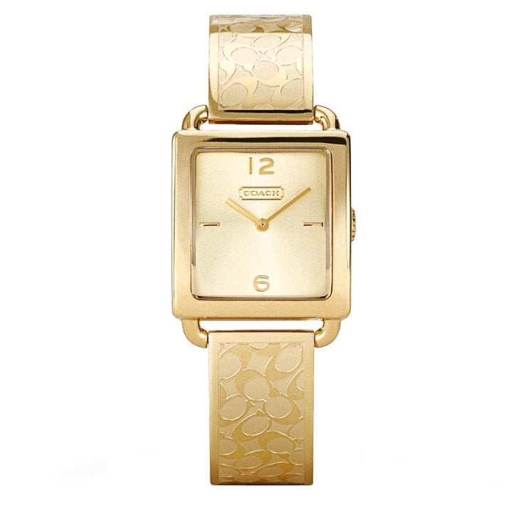Coach Watch 14501732- Signature Gold Stainless Steel Bangle with Rectangular Dial Ladies Watch