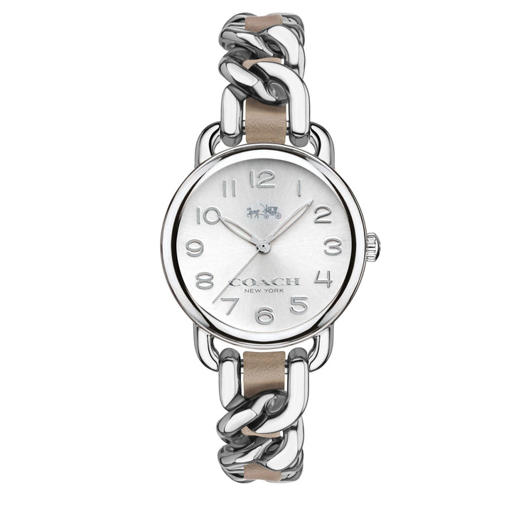 Coach Watch 14502254- Delancey Stainless Steel Chain Link Bracelet with Khaki Leather Ladies Watch