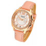 Coach Watch 14501753- Pink Leather Rose Gold Crystal Bezel Ladies Watch