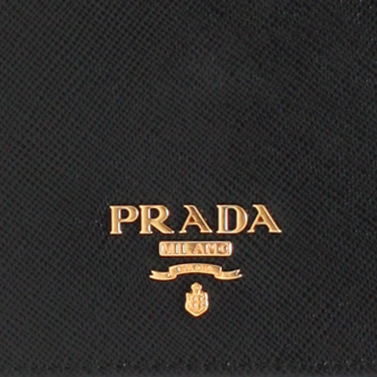 Prada Saffiano Leather French Wallet with Inner Flap- Black