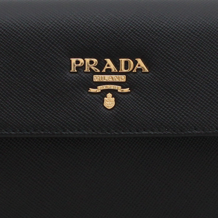 Prada Saffiano Leather French Wallet with Fold-Over Clasp- Black