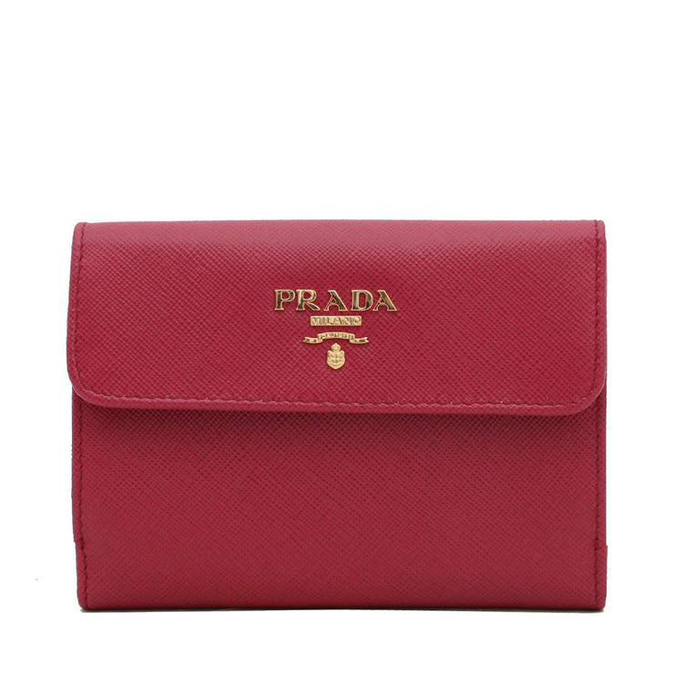 Prada Saffiano Leather French Wallet with Two Snap Closures- Hibiscus