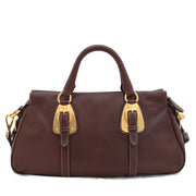 Prada Soft Calf Leather Convertible Top Handle Bag