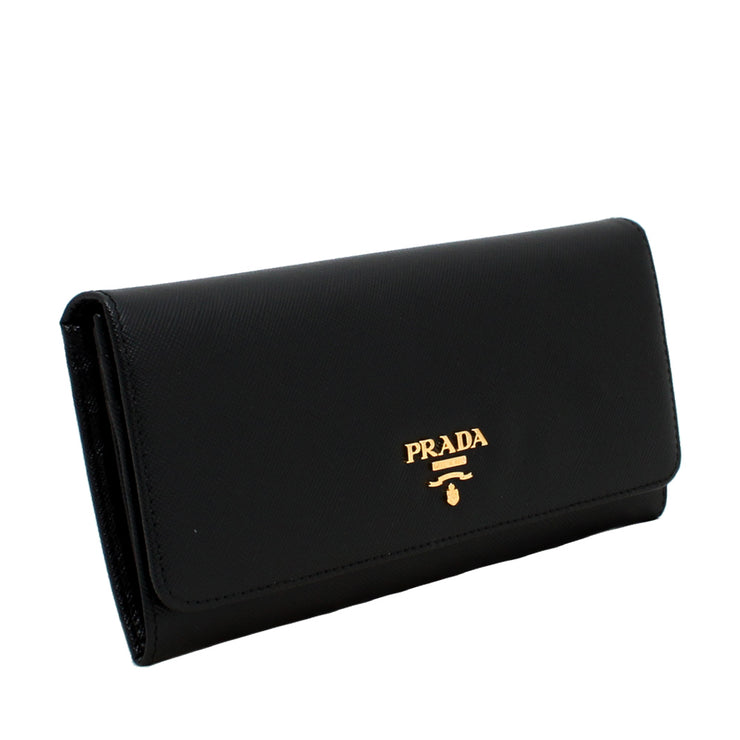 Prada 1M1132 Saffiano Leather Long Fold Wallet- Blue