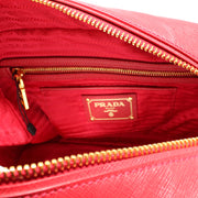 Prada Saffiano Leather Lux Convertible Top Handle Bag- Fire