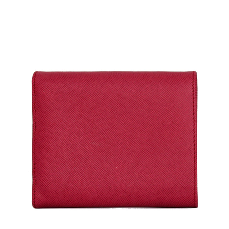 Prada Saffiano Leather Short Trifold Clasp Wallet- Hibiscus
