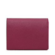 Prada Saffiano Leather Short Bi-fold Clasp Slim Wallet- Amethyst