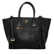 Prada Deerskin Leather Convertible Top Handle Tote Bag- Black