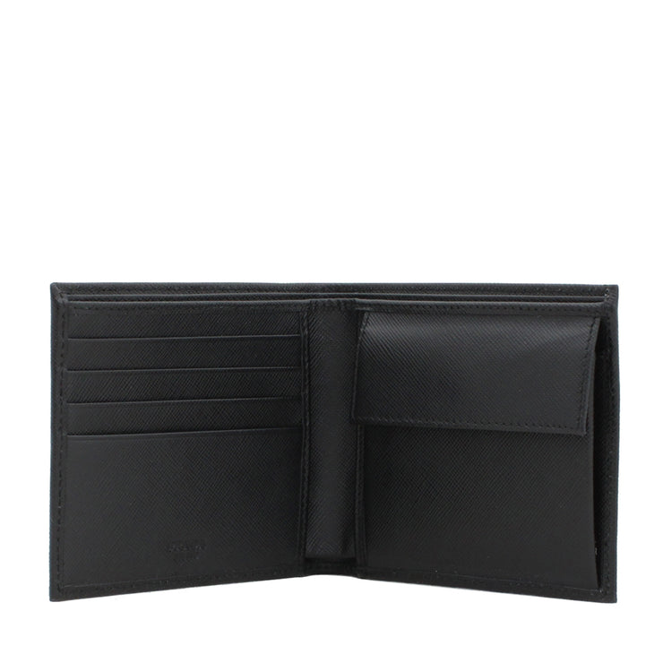 Prada 2M0738 Men's Saffiano Leather Bi-Colour Bifold Wallet with Coin Pouch & Logo- Black-Mercury