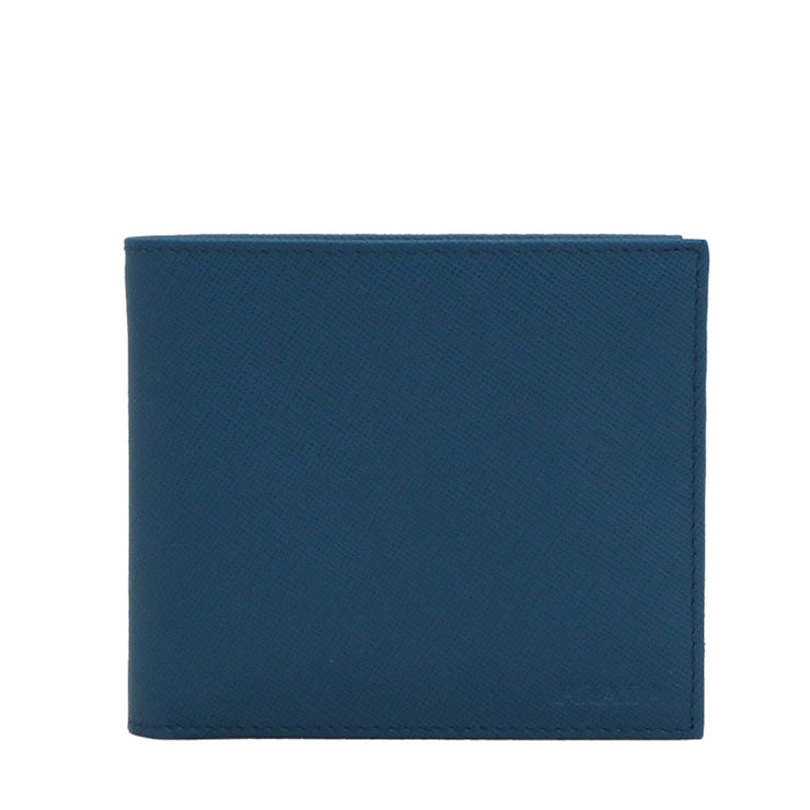 Prada 2M0738 Men's Saffiano Leather Bifold Wallet with Coin Pouch- Cobalt