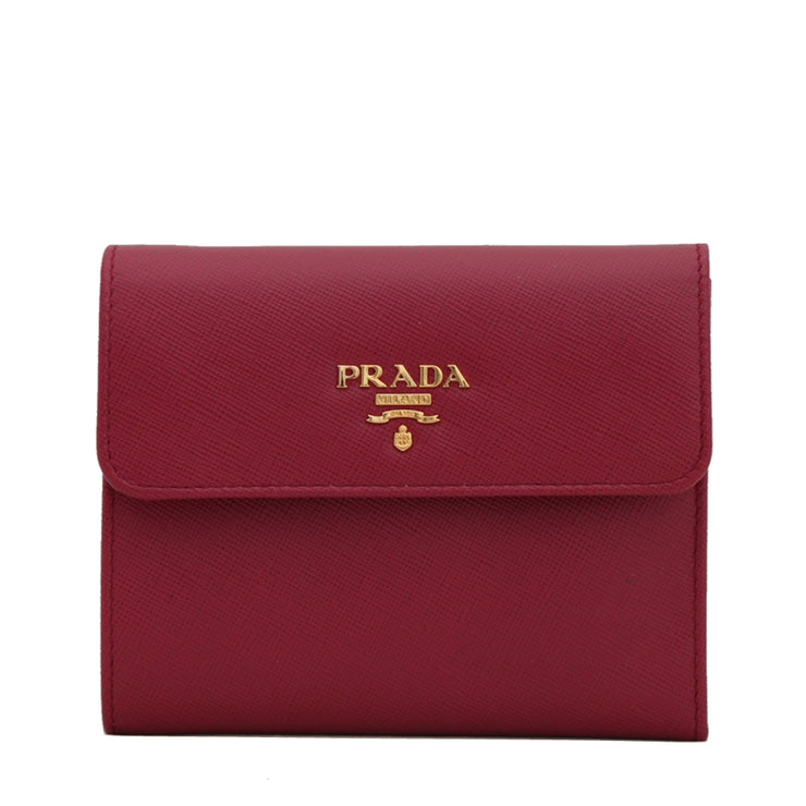 Prada 1M0170 Saffiano Leather French Wallet with Fold-Over Clasp- Hibiscus