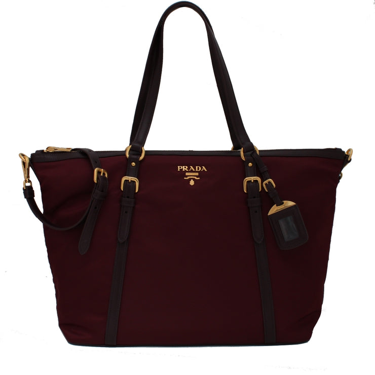 Prada B4253M Tessuto Nylon & Soft Calf Leather Trim Top Zip Tote Bag- Garnet