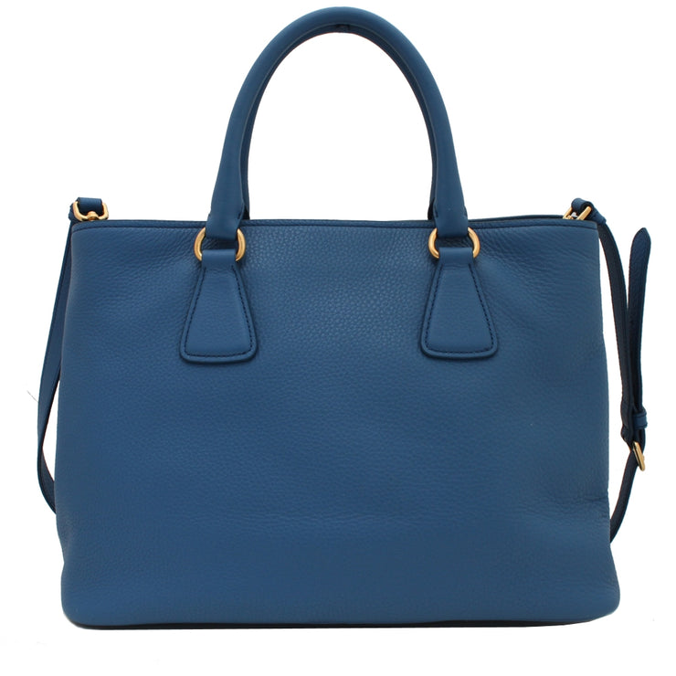 Prada BN2794 Vitello Daino Leather Convertible Shopping Tote Bag- Cobalt