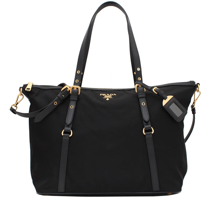 Prada BR4253 Tessuto Nylon & Soft Calf Leather Trim Top Zip Tote Bag- Black